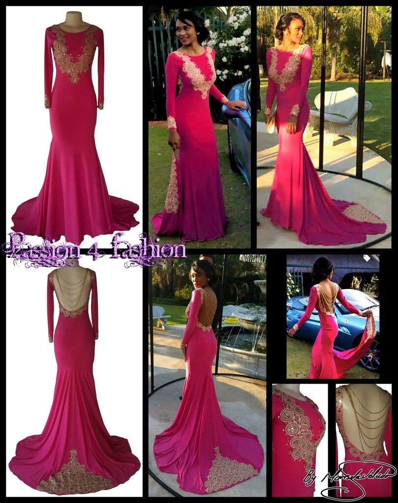 Shimmer cherise pink and gold soft mermaid dress with train and long