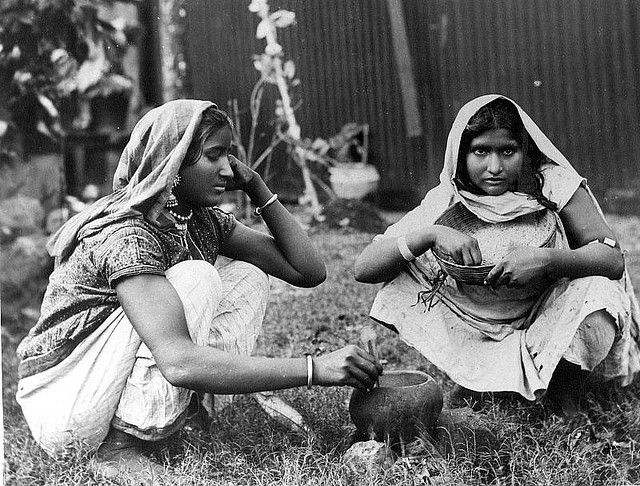East Indian girls preparing rice, Jamaica [date unknown]