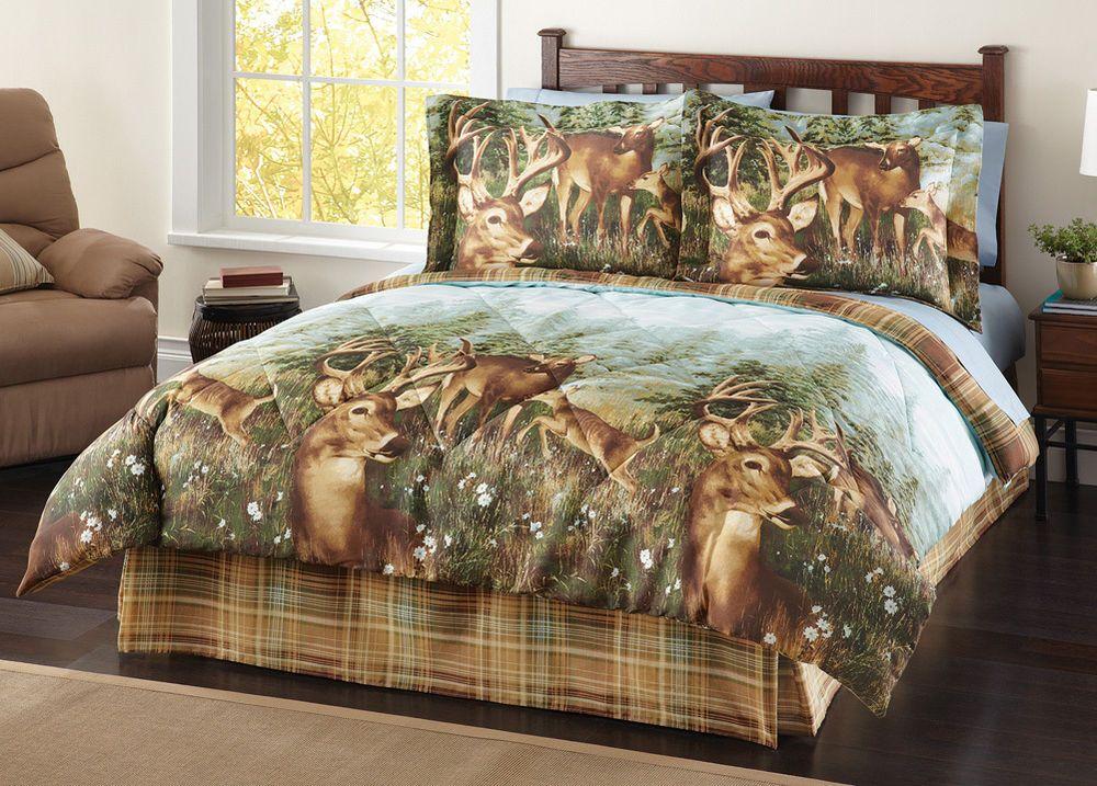 4 Pc Woodland Deer Creek Wildlife Comforter Set Bed In A Bag Lodge Cabin Rustic Comforter Sets Bed Comforter Sets Beautiful Bedding