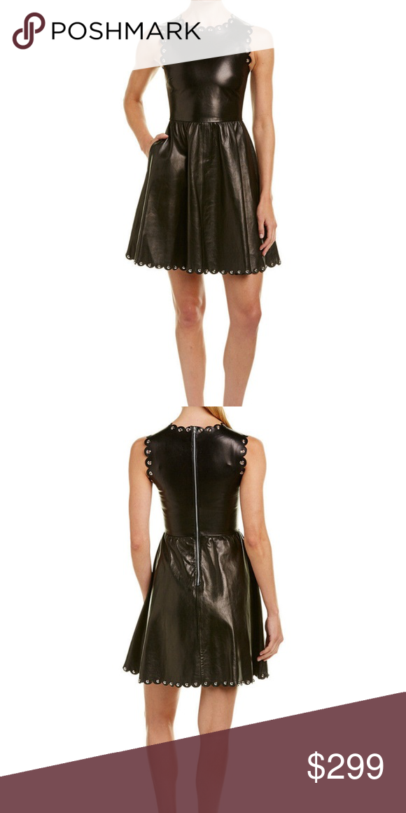 d20057c69a Red Valentino Leather Dress BLACK Size 12 #63 RED Valentino leather dress  with scalloped trim and grommet accents. Crew neckline; sleeveless. Fitted  bodice.