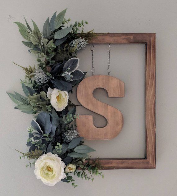 Photo of Farmhouse Monogram Wreath, Initial, Greenery, Flowers, Wood, Custom, Customizeable, Front Door, Sage, Peony, Welcome, Home, Family, Garden