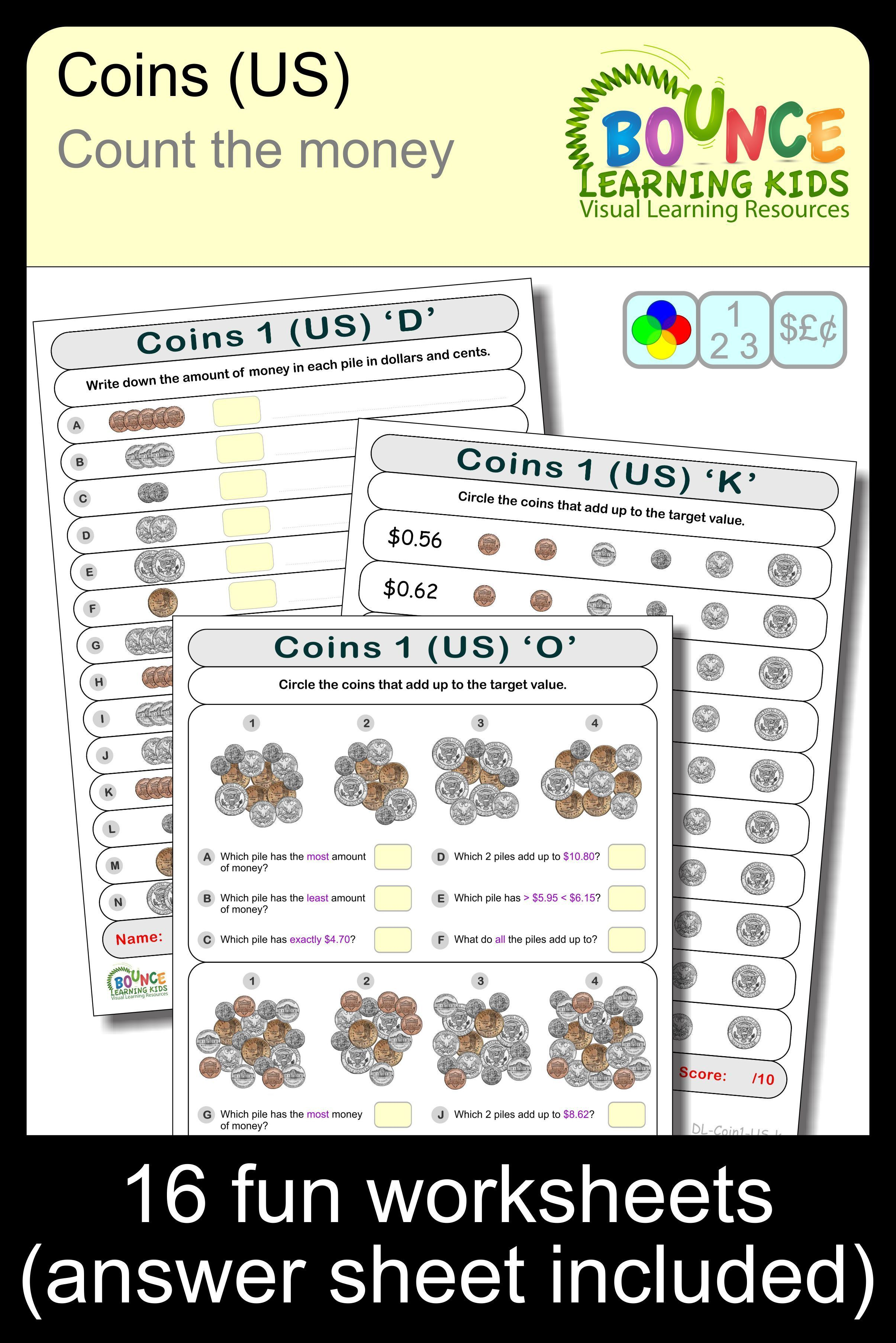 Learn To Count With Us Coins 16 Distance Learning