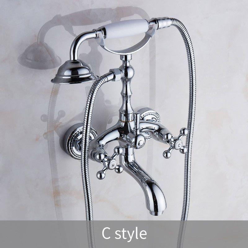 Luxury Chrome Style Silver Color Bath Tub Faucet Ceramic Handle