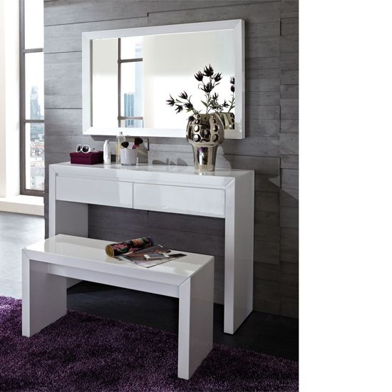 Fino High Gloss White Dressing Table Set with Mirror | House things ...