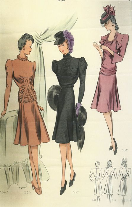 French 1940 dresses style