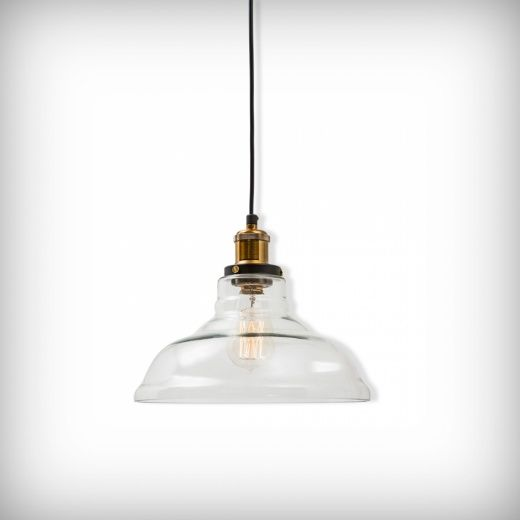 Factory Glass Bowl Pendant Light in Clear | Vintage Lamps | Cult UK