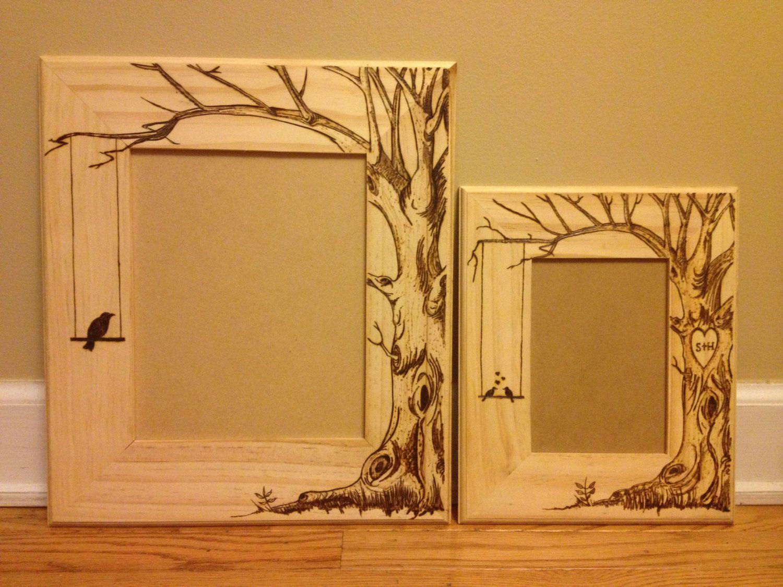 Wood burned picture frame, do custom orders too. Lovebirds tree ...