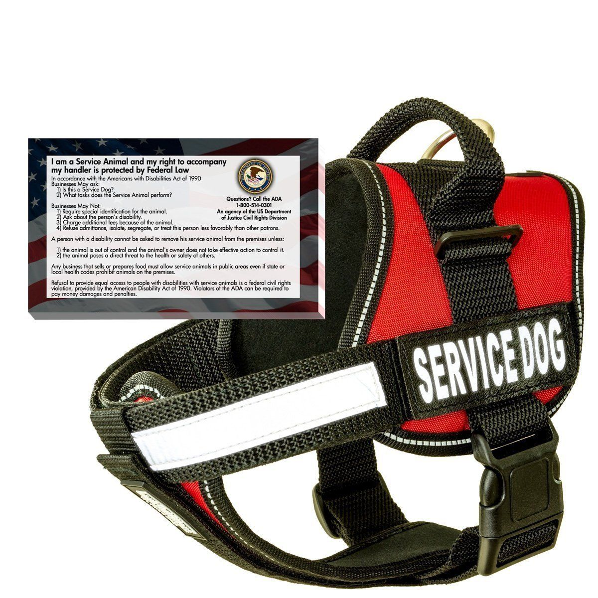Real Service Dog Vest Harness   50 FREE ADA Info Cards Kit -- Special dog product just for you. See it now! : Harnesses for dogs