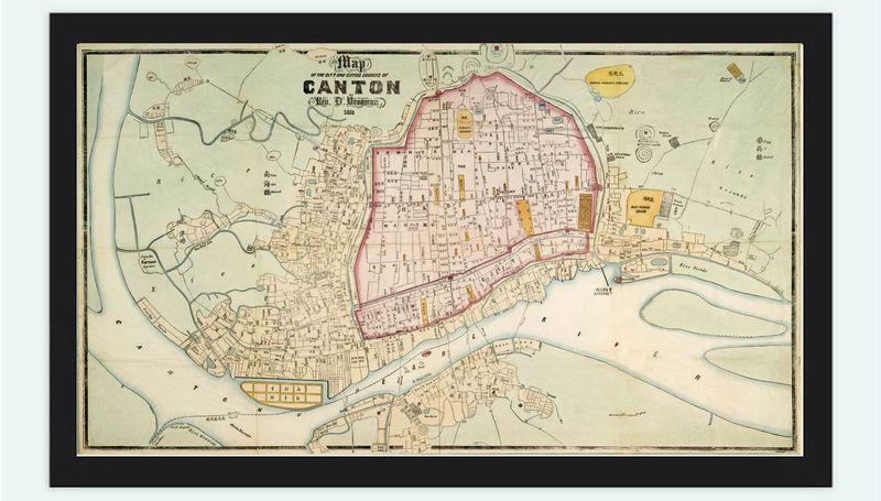 Old Map of Guangzhou old Canton 1860 China | Map, Guangzhou ...