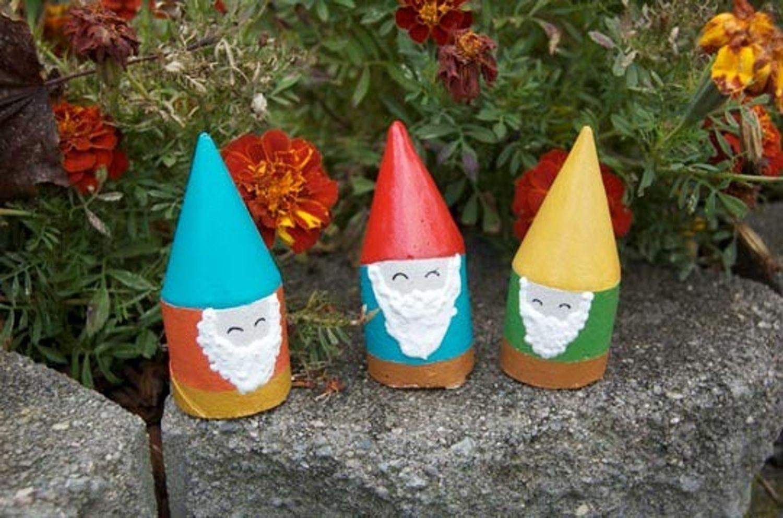 How To Make Mini Garden Gnomes Gnomes Crafts Cardboard Tube Crafts Garden Gnomes Diy