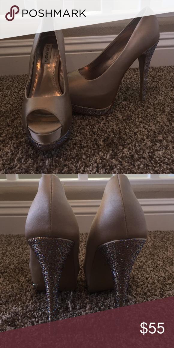 High heels. 6in heels. Open toe. Worn once. Champagne color. Steve Madden Shoes Heels