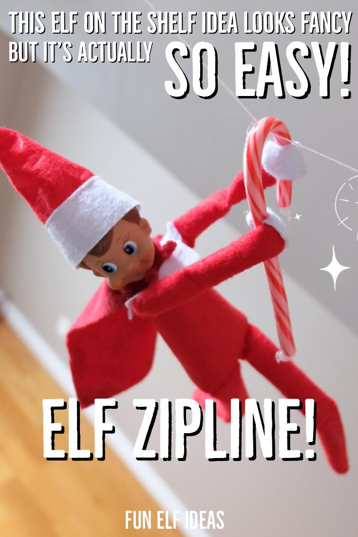 Easy Elf Idea #4: Elf Zipline - Fun Elf Ideas