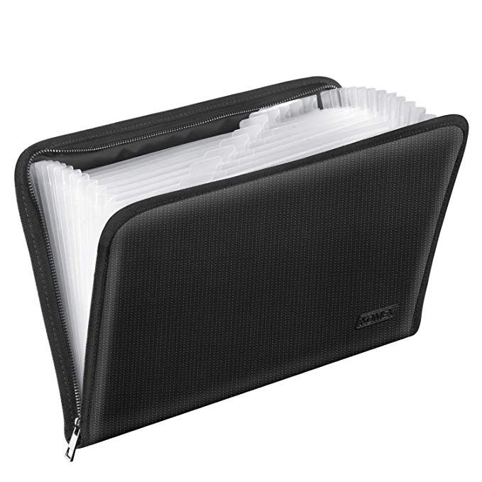 Blue Upgraded Long Fasten Rope Mini Portable Expanding Folder Bearda 13 Pockets Receipt Folder Premium Poly Accordion Document File Storage Wallet Small Check File Organizer for Coupons Tickets