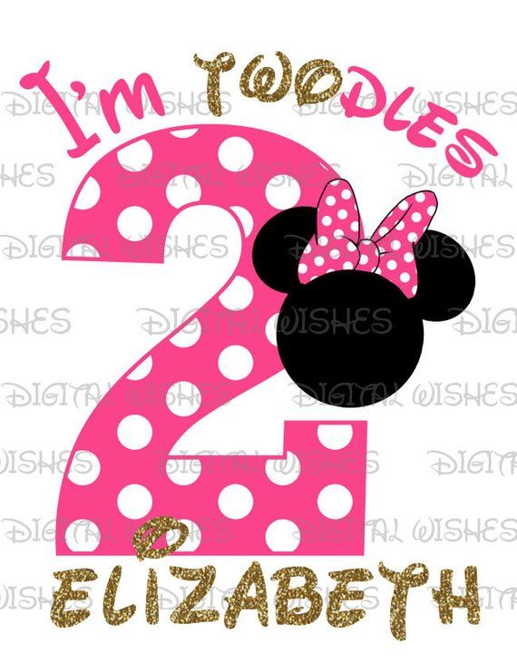 269d77171 Minnie Mouse head ears I'm twodles second Birthday Image PERSONALIZED name  digital iron on transfer clip art DIY for Shirt