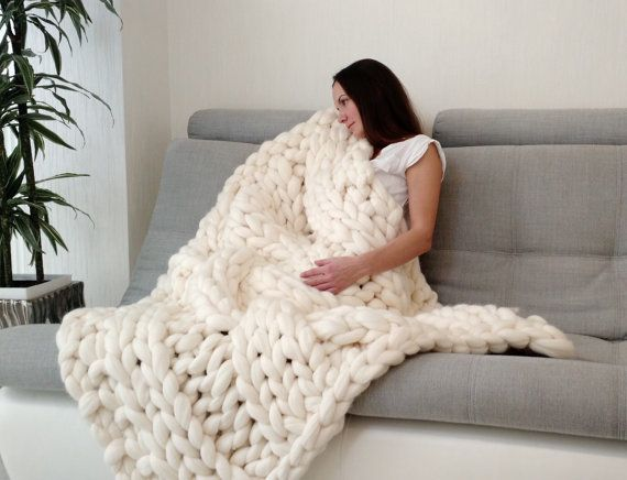 Cable Knit Blanket Chunky Knit Blanket Hand Knitted Blanket