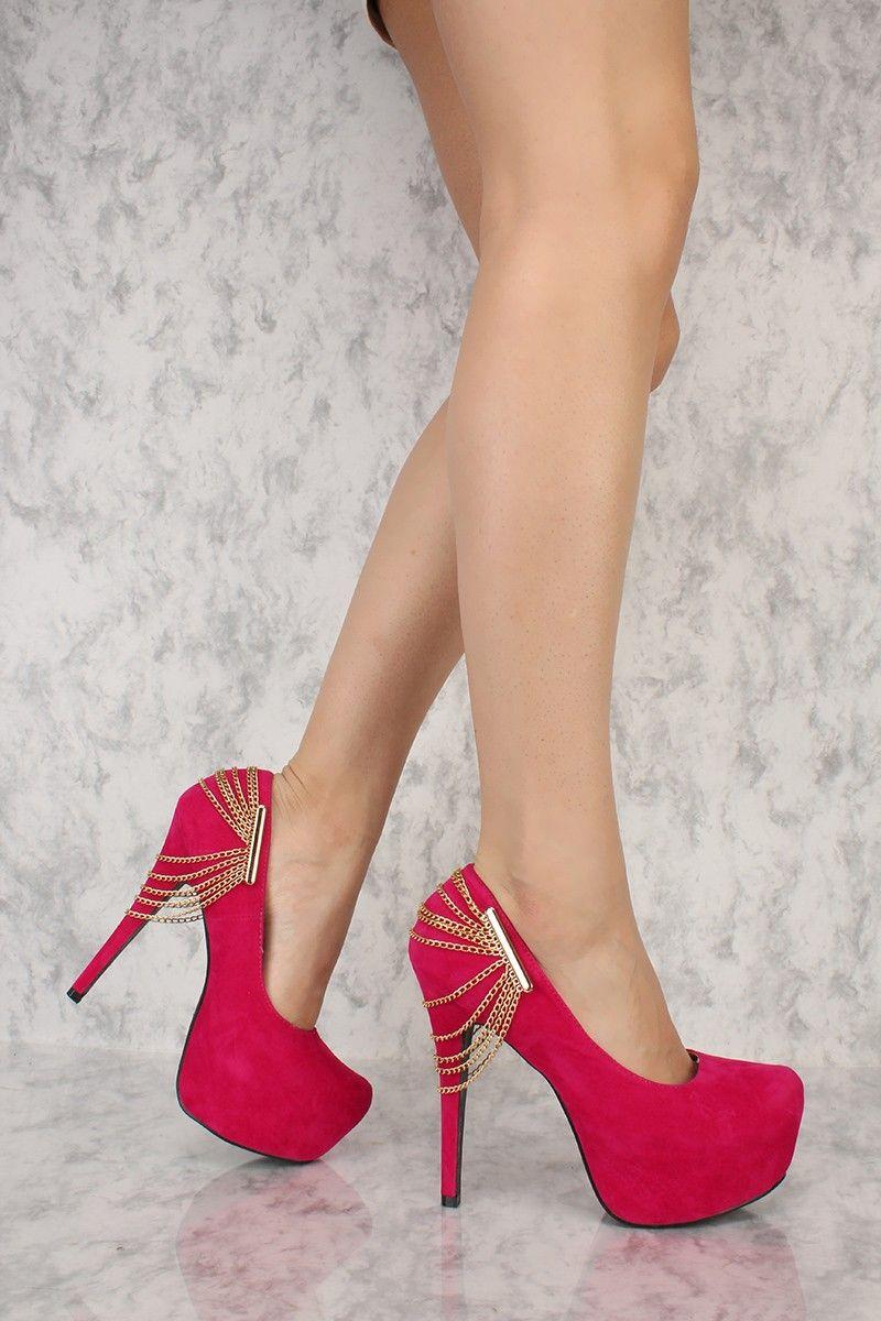 07414a3e46020 Hot Pink Chain Accent Platform Pumps AMI Clubwear High Heels Faux ...