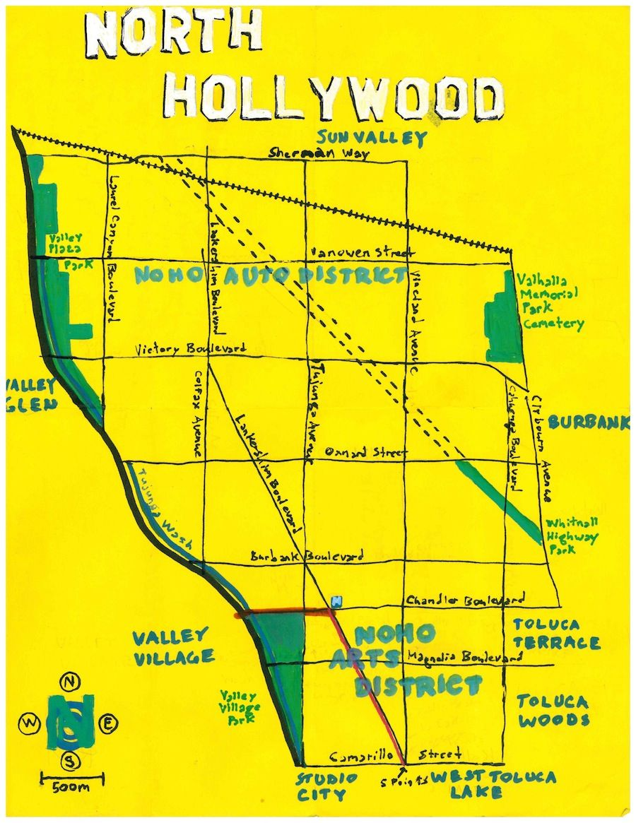 Oil paint map of North Hollywood