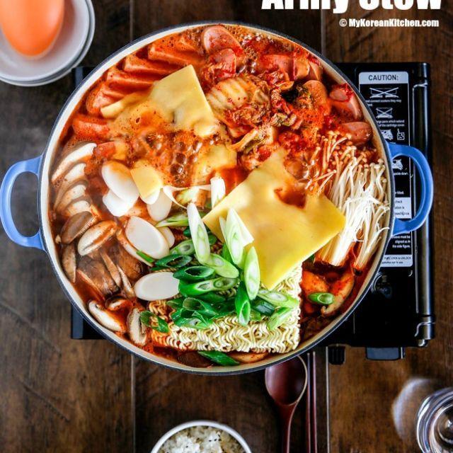Budae Jjigae Army Stew Recipe Korean Side Dishes Army Stew Recipes