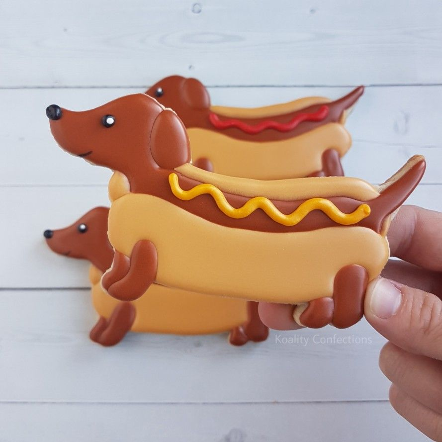 Hotdog Weiner Dog Sugar Cookies Decorated With Royal Icing Dog