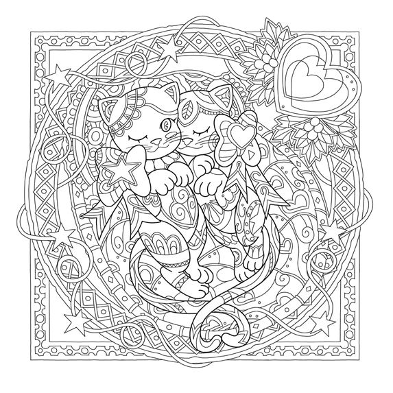 Mystical Cats in Secret Places : Waves of Color | Coloriage ...
