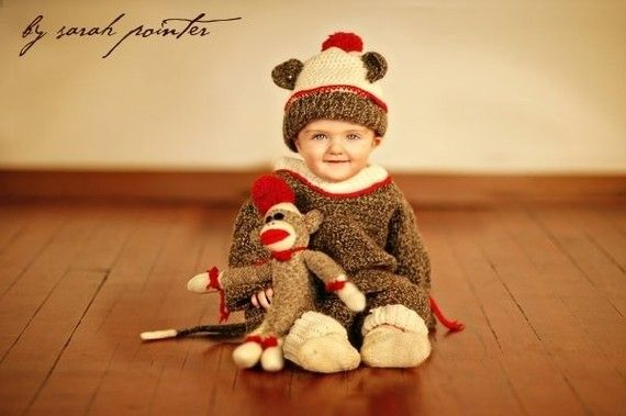 Brown Marl Wool Sock Monkey Suit Size 18-24 months | Holiday | Pinterest