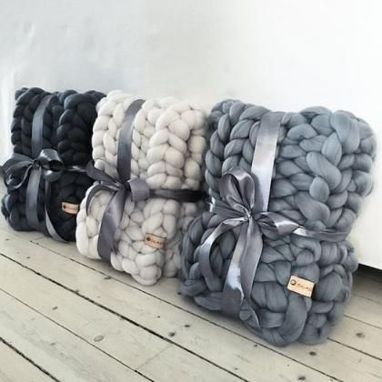 Fall Winter Chunky Blankets For Home Knitted Blankets