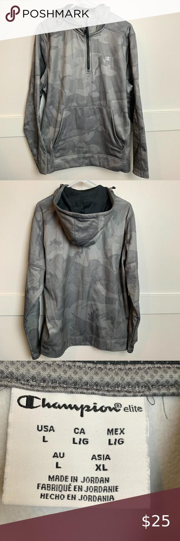 Champion Elite Gray Camo Quarter Zip Hoodie Zip Hoodie Long Sleeve Tshirt Men Clothes Design [ 1740 x 580 Pixel ]