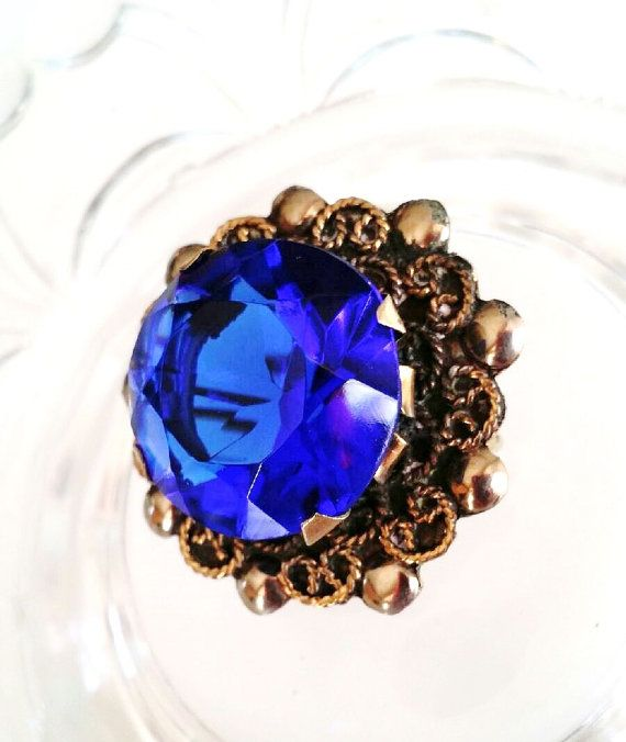 Vintage Sterling Silver and Sapphire Open Rose Artisan Made Pin Brooch