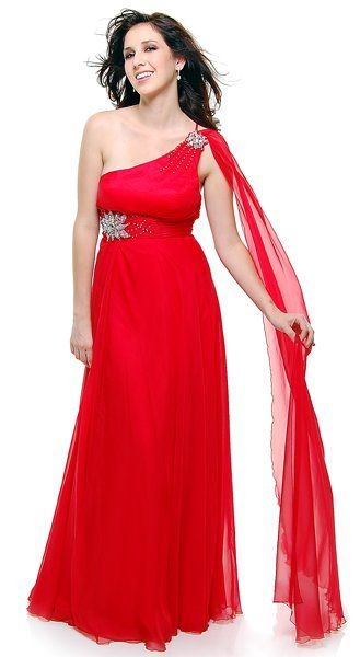 grecian style red dress
