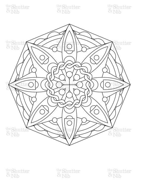 Printable Mandala Download Abstract Coloring Book Page Digital