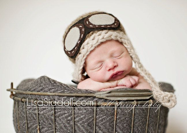 7c895938e50 Baby Pilot Hat - Newborn Aviator Hat With Goggles - Newborn Photo Prop -  Chin Strap Baby Hat - Rocketeer Size NEWBORN.  38.00