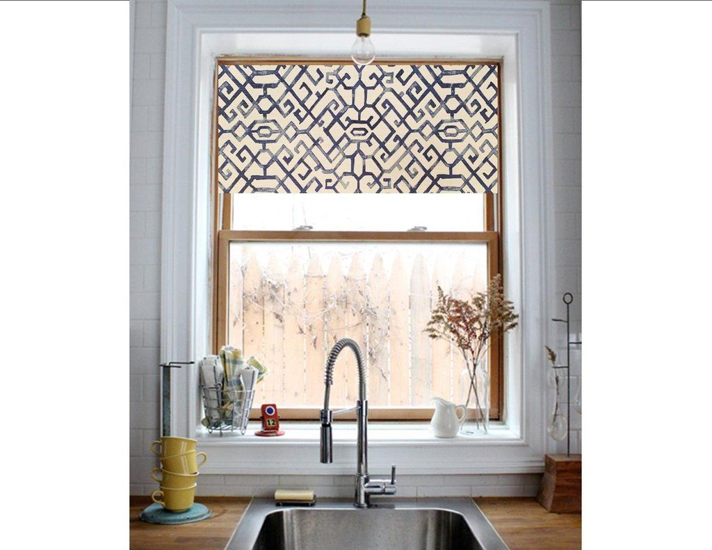 Straight Modern Valance In Modern Blue Or Grey White Print Custom Made Fully Lined Machine Washabl Modern Kitchen Valance Modern Valances Kitchen Valances