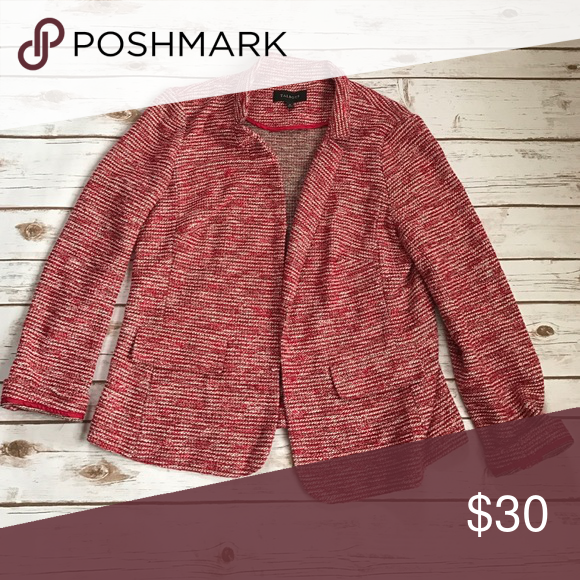 Talbots Red Tweed Open Cardigan Jacket 12 Pretty red Tweed jacket ...
