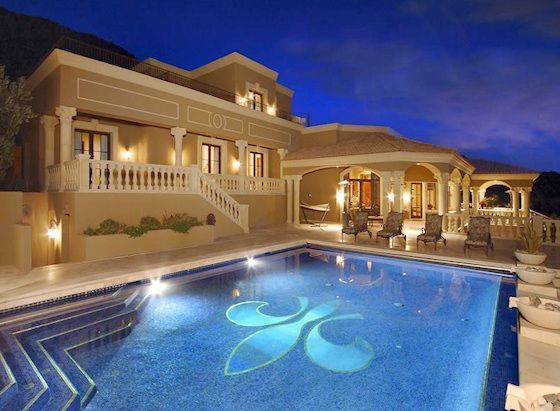 Luxury Homes With Pools mansion bacyards | stock photo - night view of a residential