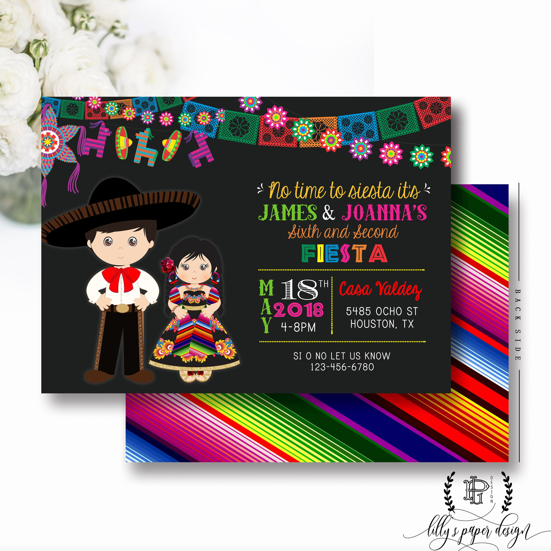 Fiesta Birthday Invitation, Sibling Fiesta Party Invite, Fiesta Twin ...
