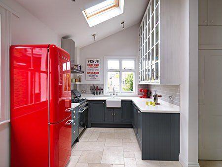 Grey White Kitchen With Red Smeg Fridge