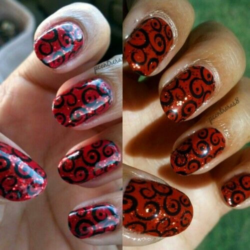"Nail art challenge October 2013 Day 7 Design 3 ""Pattern"" Featuring: Pueen a plate 46 Kleancolor Red & Black"