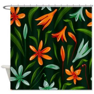 Saytoons: Tropical Floral Design Shower Curtain