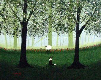 Border Collie Sheltie hond kleine ACEO Folk Art door ToddYoungArt