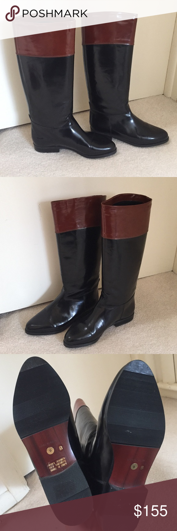 Italian Two Tone Boots Italian leather boots purchased in Italy. Beautiful. Never worn. They still have the new glossy leather look. Listed under Anthropologie for exposure. Make an offer! Anthropologie Shoes