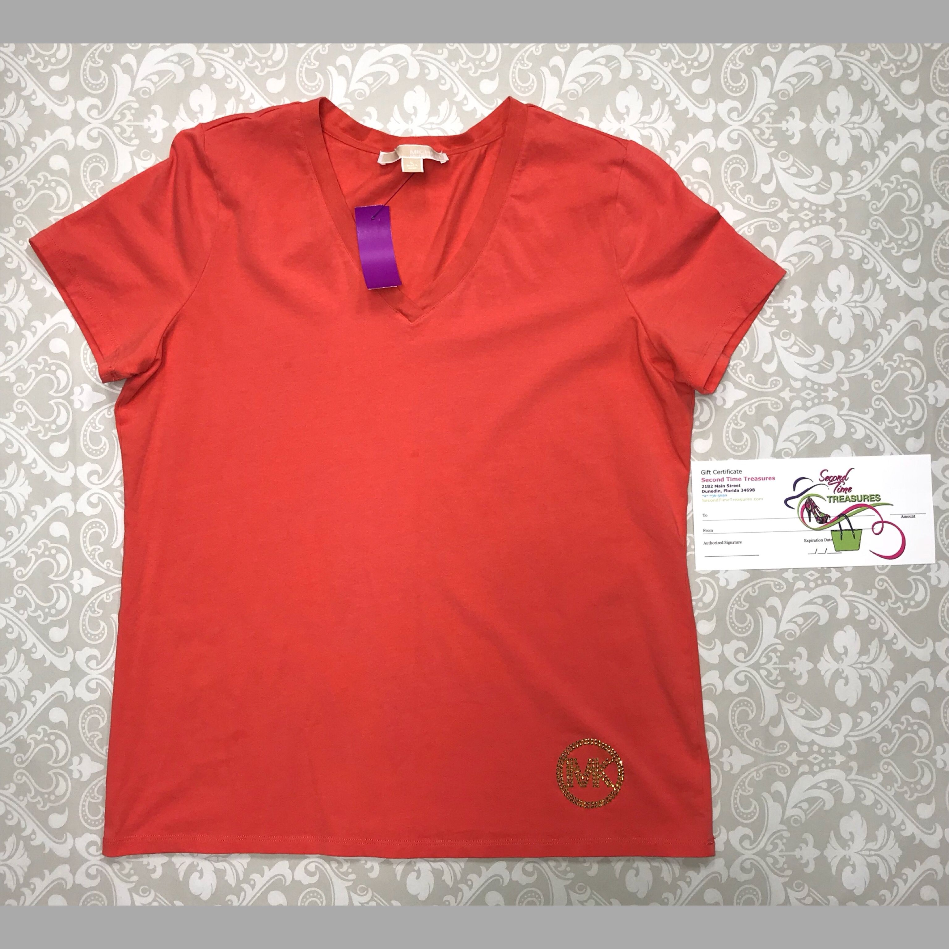 Michael kors short sleeve top with gold rhinestone logo in size