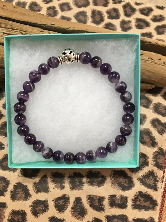 32a0d571b8b5e AA Recovery Amethyst Sobriety Bracelet for Men, February Birthstone ...