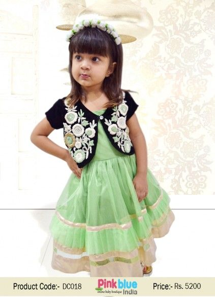 c3a0fed5bddc Pista Green Designer for Baby Girl with Heavy Hand Embroidery and ...