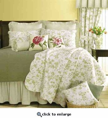 Oversized King Quilt Brighton Toile Green Garden Luxury Bedding French Country Bedding Country Bedroom French Country Bedrooms