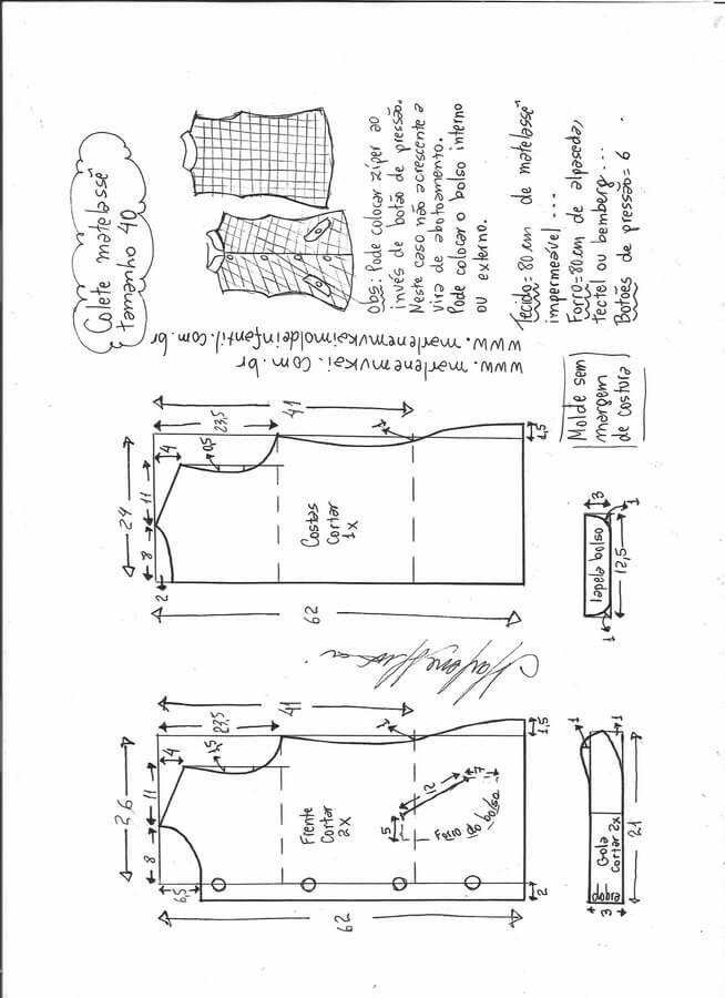 Patrón chaleco acolchado | Chaleco acolchado, Patrones de costura ...