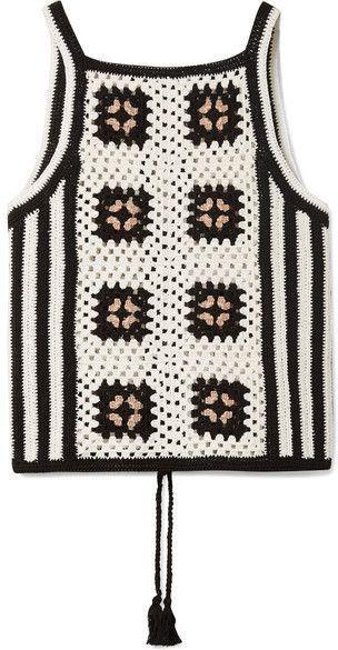 ELEVEN SIX - Alexia tie-back crocheted Pima cotton tank #crochetedheadbands