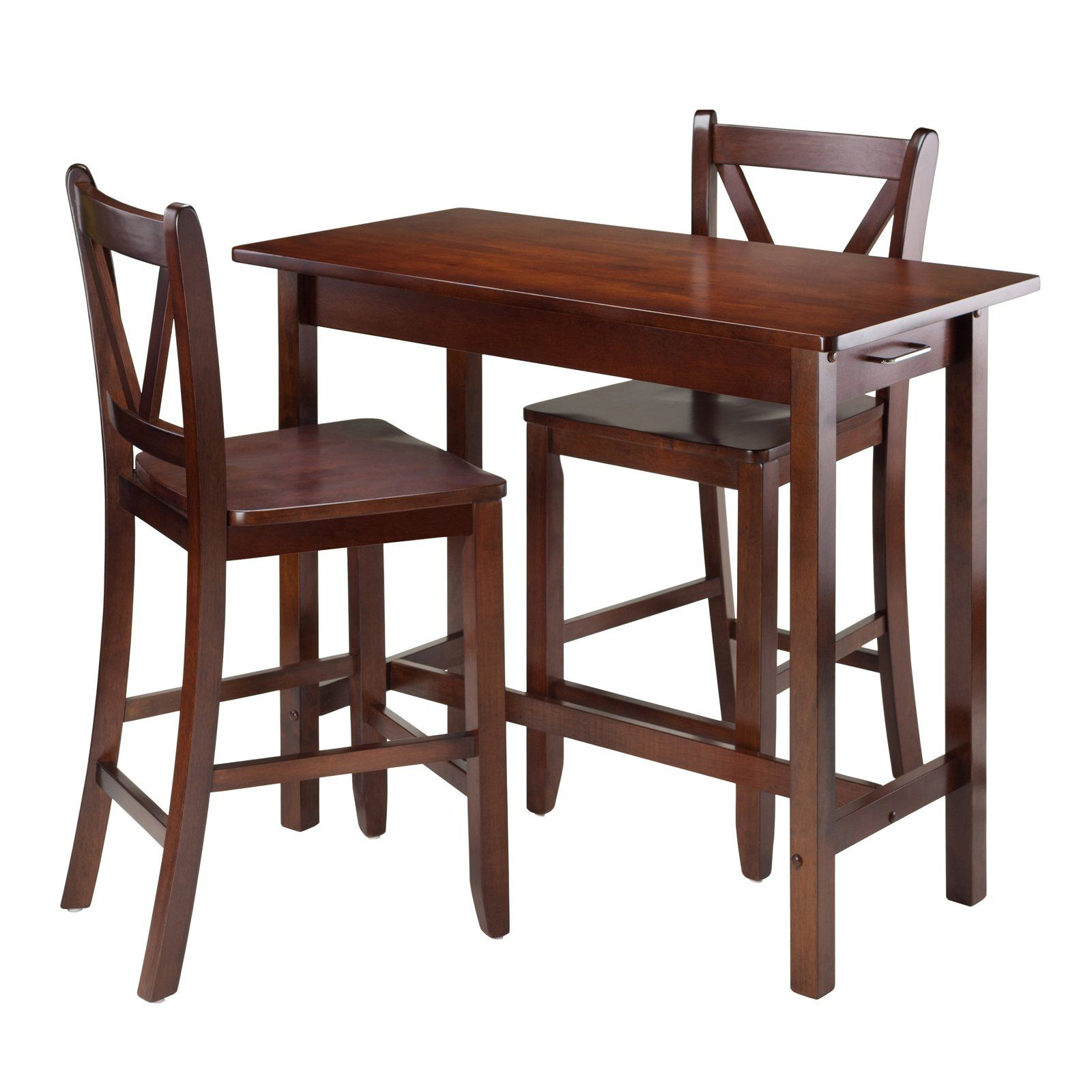 Winsome Trading 3 Piece Kitchen Island Table With V Back Stools | From  Hayneedle.