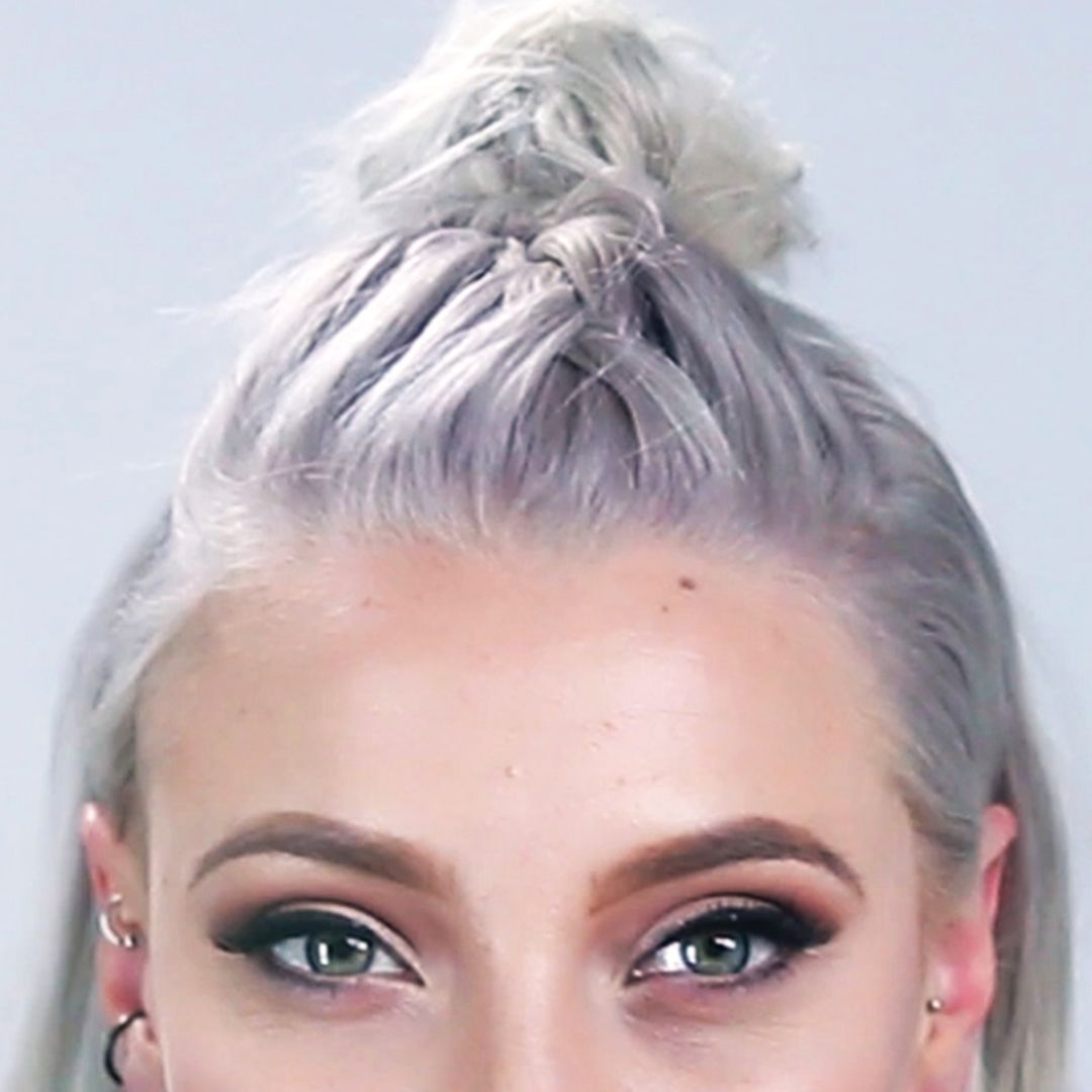 French Braid Into A Top Knot (For Shorter Hair)