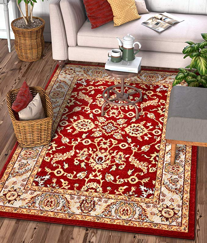 Amazon Com Well Woven Sydney Vintage Carleton Red Traditional French Country Oriental Area Rug 5 3 X 7 3 Kit In 2020 Oriental Area Rugs Floral Area Rugs Well Woven