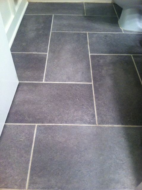 Groutable Vinyl Tile Slate Floor Update A Standard Sized Bathroom